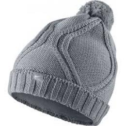 NIKE CHUNKY CABLE KNIT BEANIE LADIES, GREY