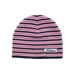 Titleist Womens Striped Fitted Beanie PINK/NAVY/WHITE