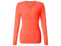 Callaway Ribbed Cotton Sweater with Opti-Therm NASTURTIUM, Velikost XS