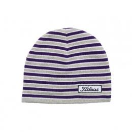 Titleist Womens Striped Fitted Beanie GREY/PURPLE/WHITE
