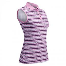 CALLAWAY CRYSTAL STRIPE PRINTED SLEEVELESS POLO Fuchsia Pink, Velikost S, L, XL