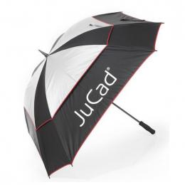 JuCad telescopic umbrella Windproof with pin BLACK/SILVER/RED